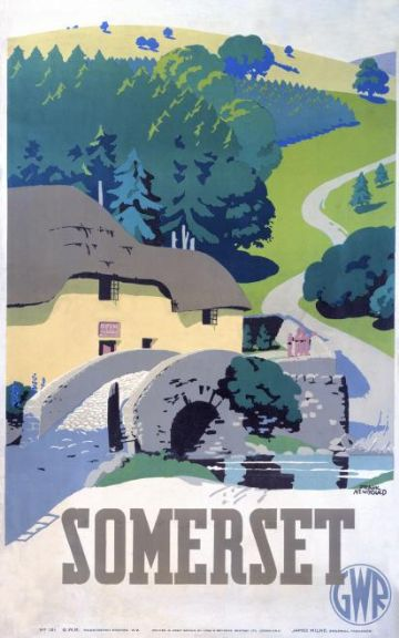 Somerset, England. Travel by Train.  Great Western Railways Travel Poster